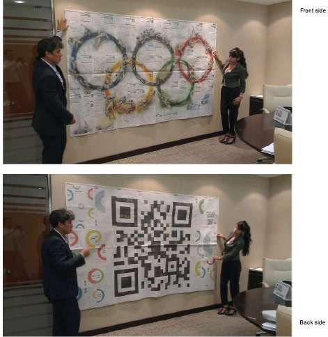 For the London 2012 Olympics, Al Bayan commissioned an infographics-based cross-media special. Graphics director Luis Chumpitaz devised a collectible print supplement, the pages of which could be assembled into a giant poster featuring an oversized QR code (linking to a series of online infographics) on one side and elaborate illustrations on the other. Amazing to work with such talented designers and illustrators! Click image to open PDF.