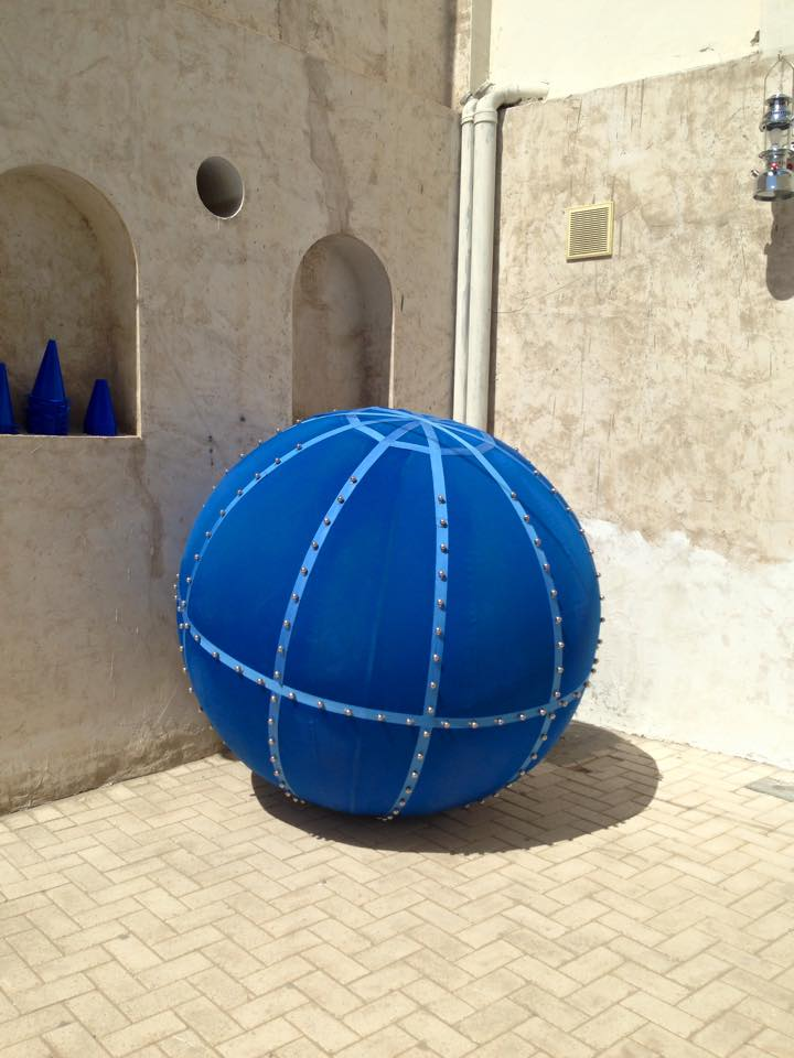 XYZ by Argentinian artist Eduardo Navarro is a collaborative game (involving this huge blue ball) which the artist created with input from local school children.