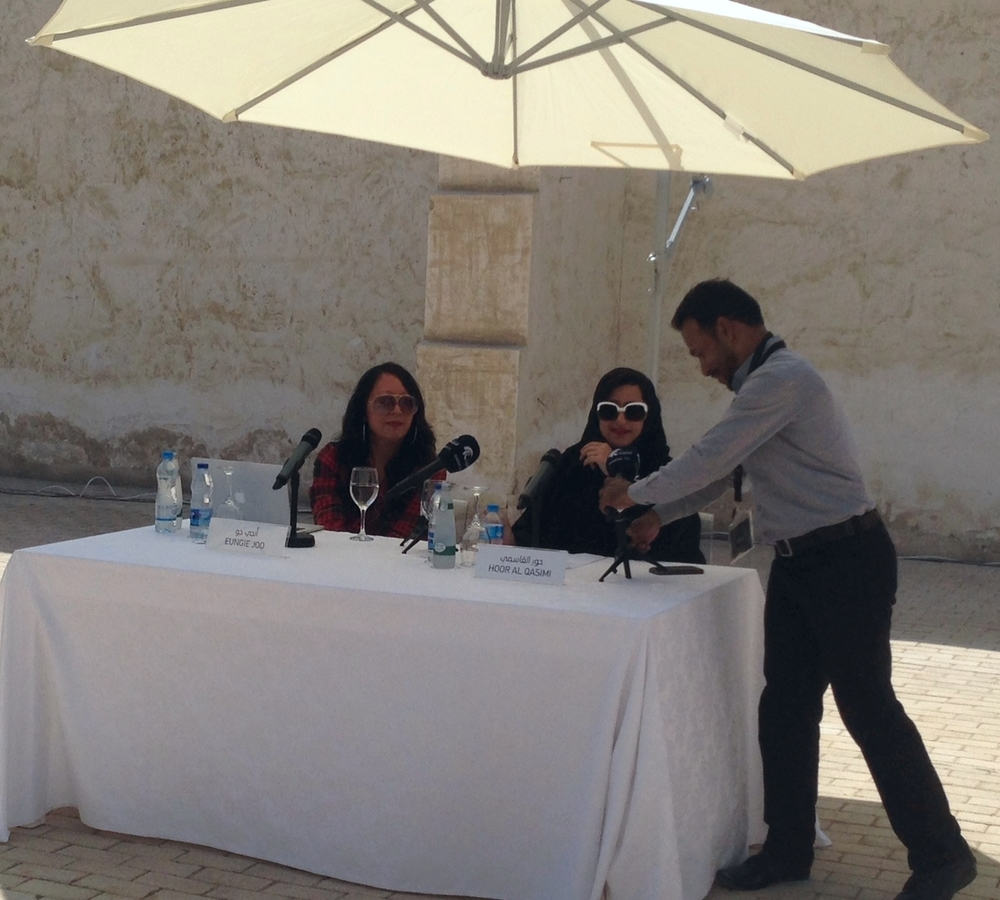 Hoor Al Qasimi, president of the Sharjah Art Foundation (right) and Eungie Joo, curator of the Sharjah Biennial 12, at the launch press conference on March 5, 2015.