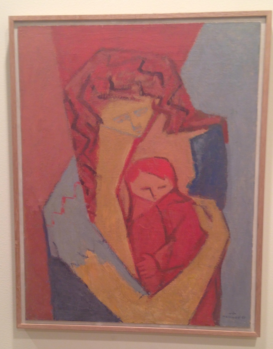 Most of the works selected by Green Art Gallery have not been shown since the 1960s, including this one: Mother and Child (1961, oil on canvas).