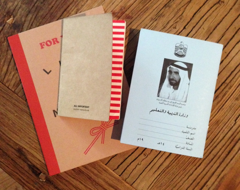 Notebook heaven: three new memo books recently discovered at stationary shops in Abu Dhabi, Dubai and Sharjah.