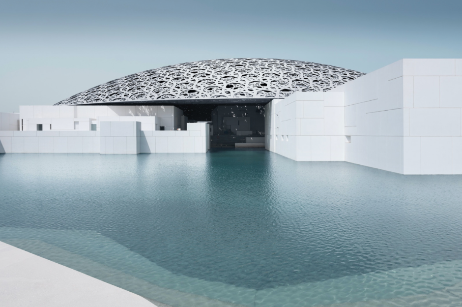 A view of the Louvre Abu Dhabi, set to open on 11 November 2017, seen from the museum's 'concrete beach'.
