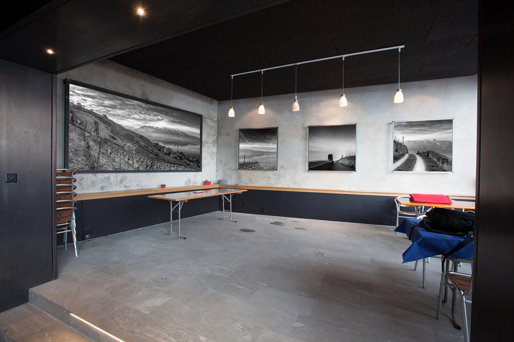 Caveau de Béat et Philippe Bujard - Aran    Panoramique 350x180cm et triptyques de 150x150cm