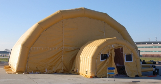A light, rugged, inflatable building used by the Royal Air Force.