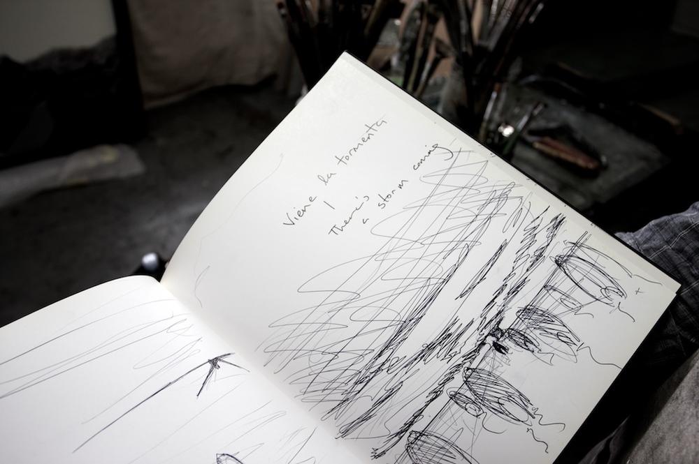 Sketchbook workings for 'Viene La Tormenta'
