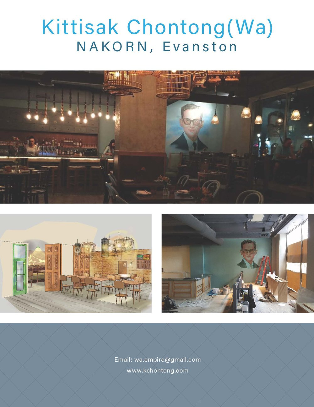 Mural painting and Interior design sketch for NAKORN, Evanston