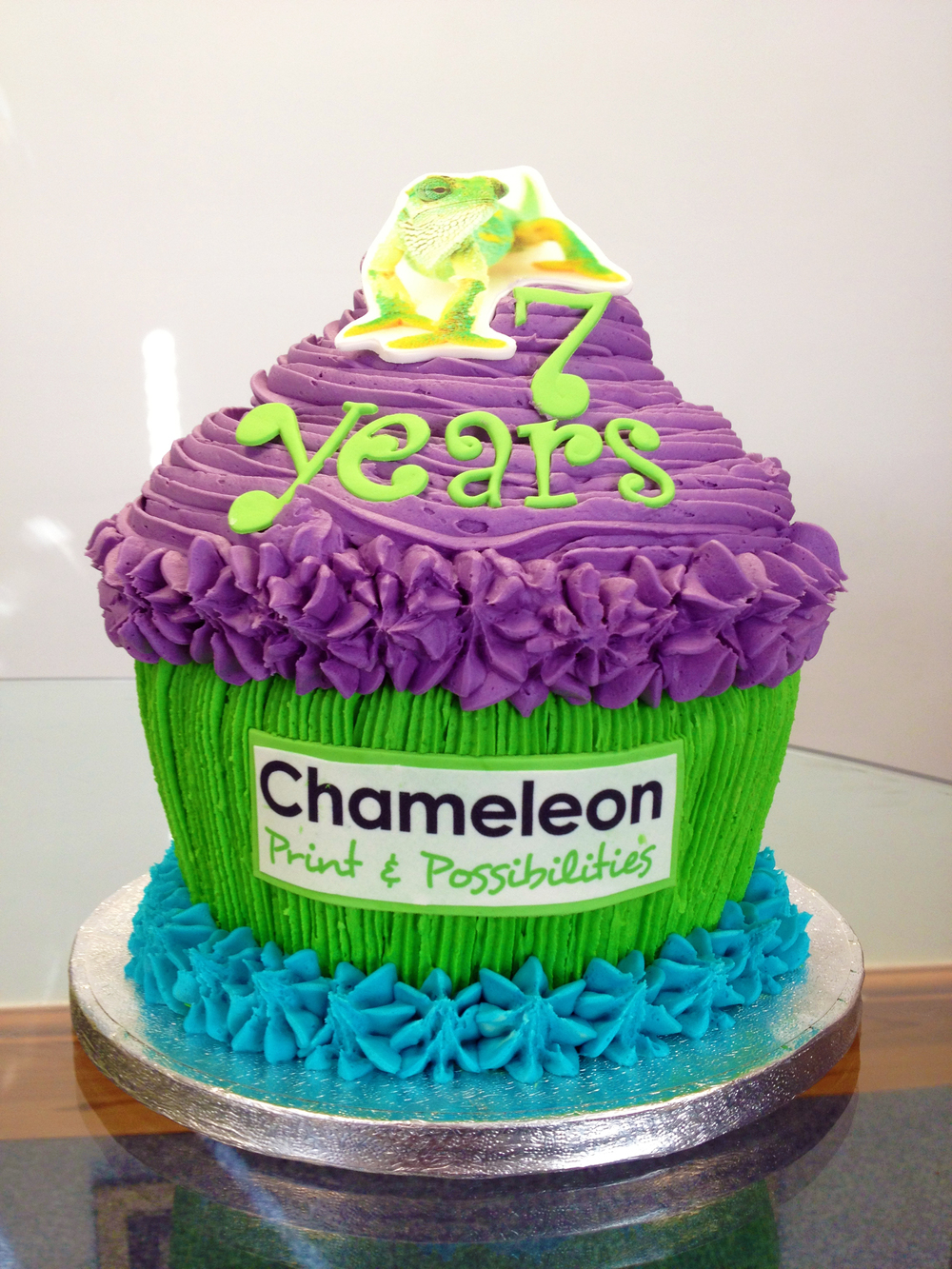 Our Giant Chameleon Birthday Cupcake