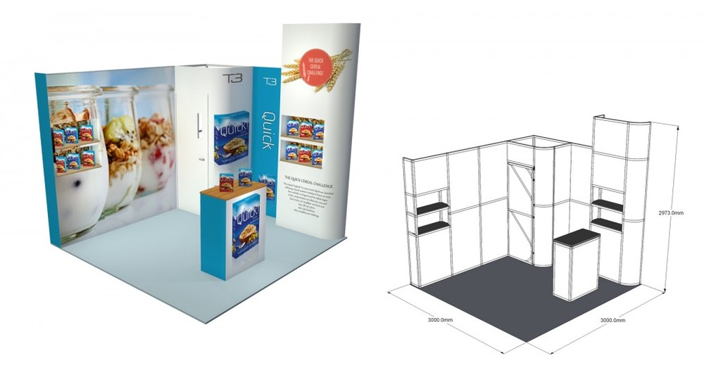SST 35 | 3×3 Stand, Stand Size: L:3000 x W:3000 x H:2973mm