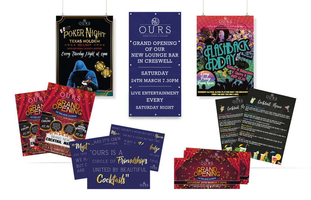 OURS Bar & Lounge Marketing Material Design and Print
