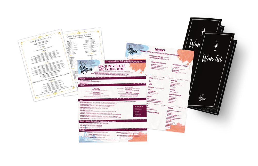 Petit Paris Menu Design - Lunch/Pre-Theatre, A la Carte and Wine List