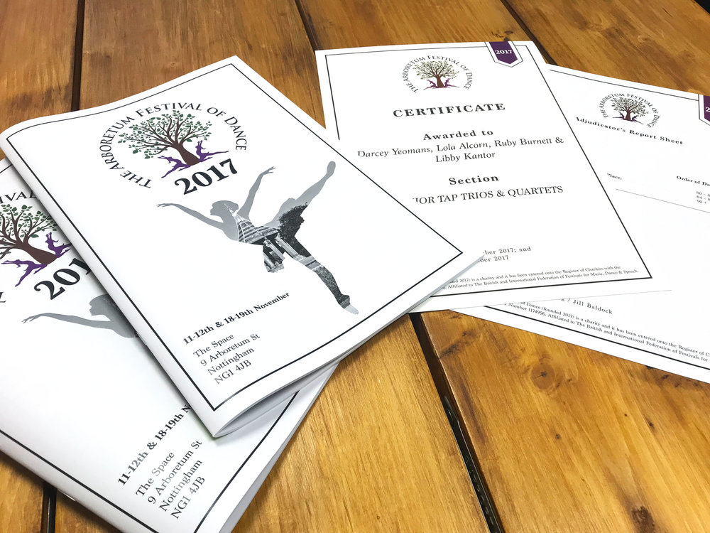 Printed Dance Festival Programme & Certificates