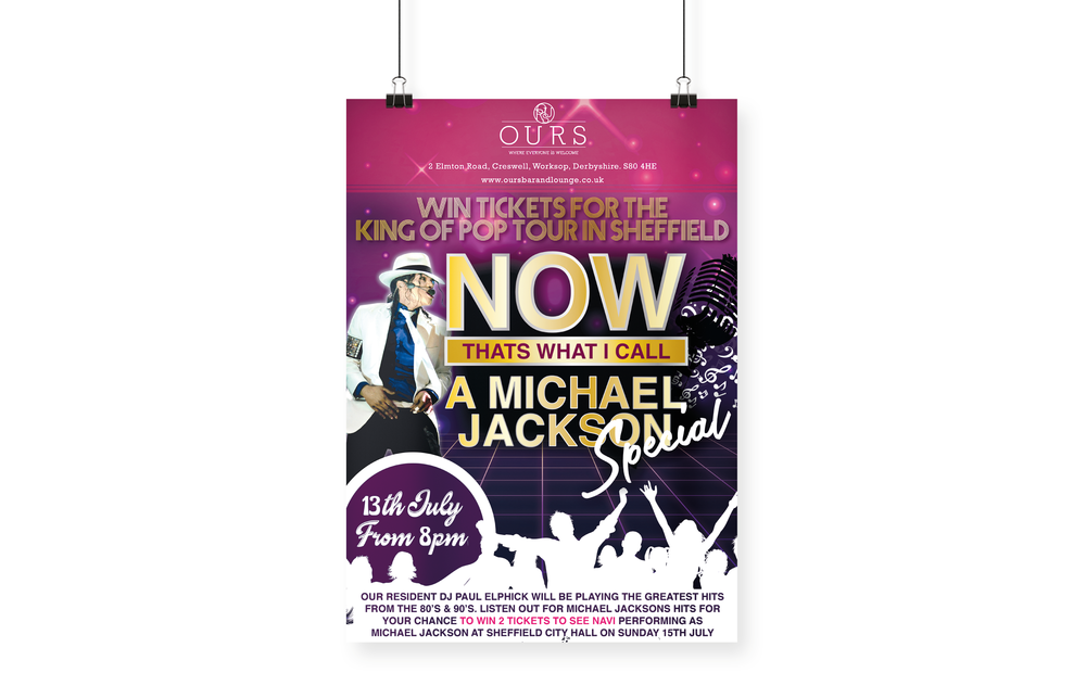 OURS Bar & Lounge Michael Jackson Tribute Performance Designed Poster