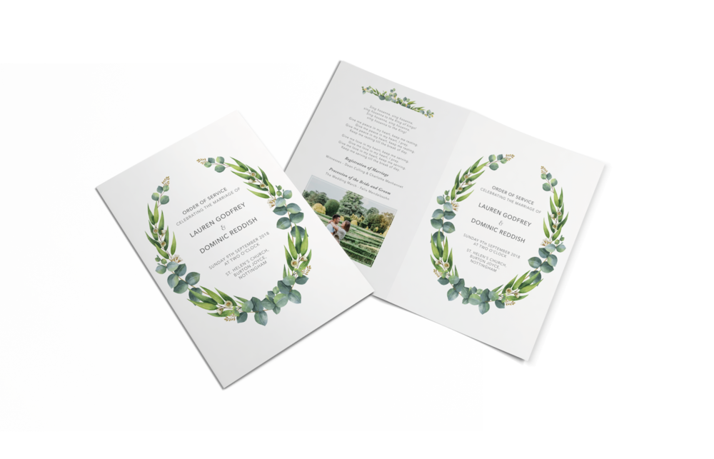 Wedding A5 Order of the Service Design and Print