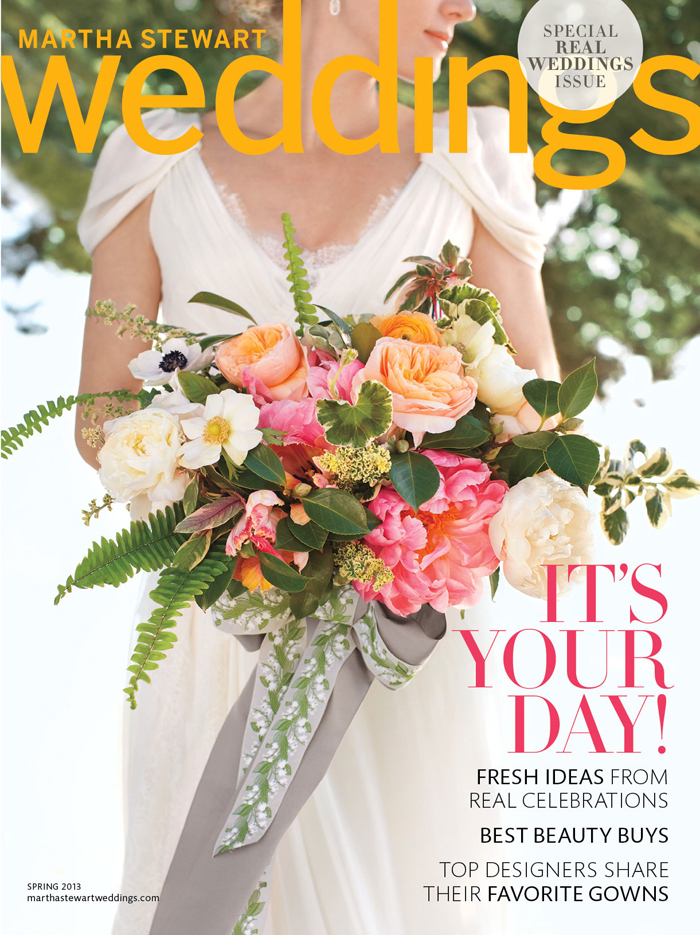 Cover photograph by Joe Budd/Martha Stewart Weddings, Special Real Weddings Issue 2013. Copyright © 2013. Story photographs by Kate Mathis/Martha Stewart Weddings,  Special Real Weddings Issue  2013. Copyright © 2013.