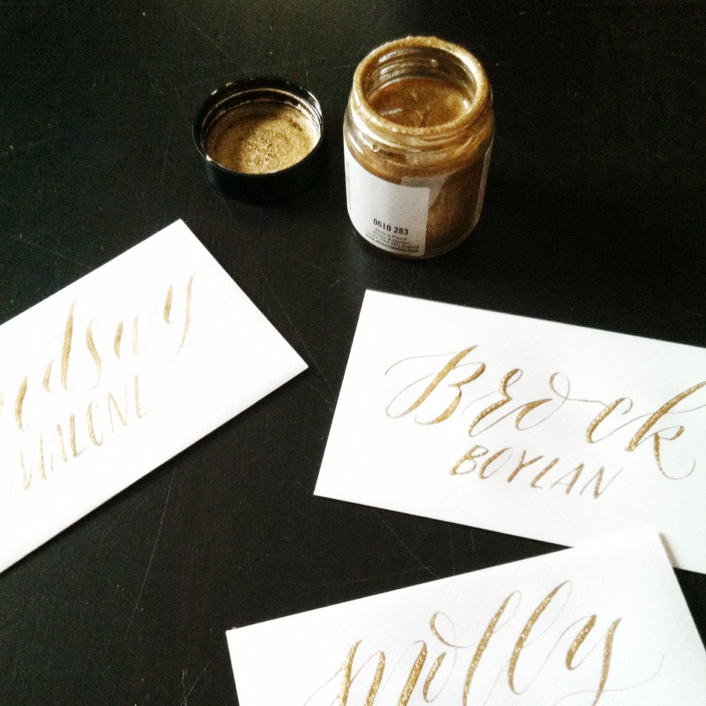 You'll learn the art of place card calligraphy in my Wedding Calligraphy Workshop.