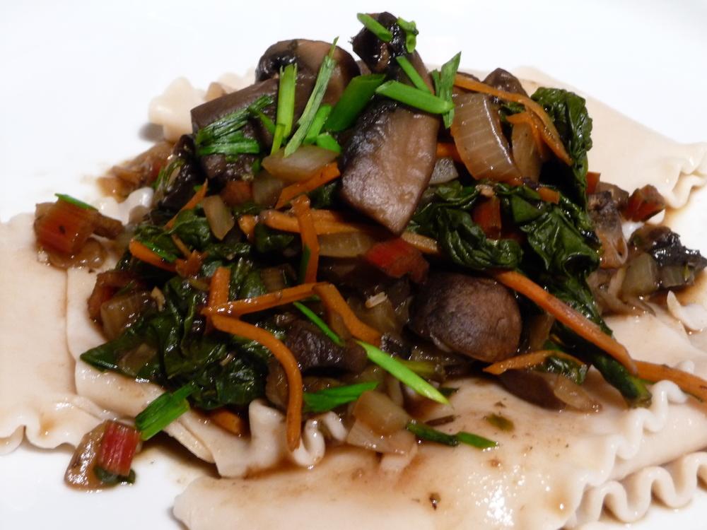 Mushroom Chard Ragout on Brown Rice Pasta