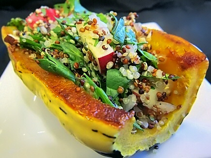 Roasted Delicata with Autumn Quinoa Stuffing