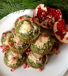 Super-Green Minty Coconut Christmas Tree Muffins