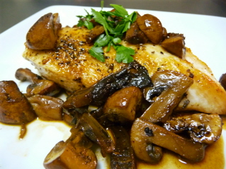 Smothered Chicken and Mushrooms with a Port Wine Sauce