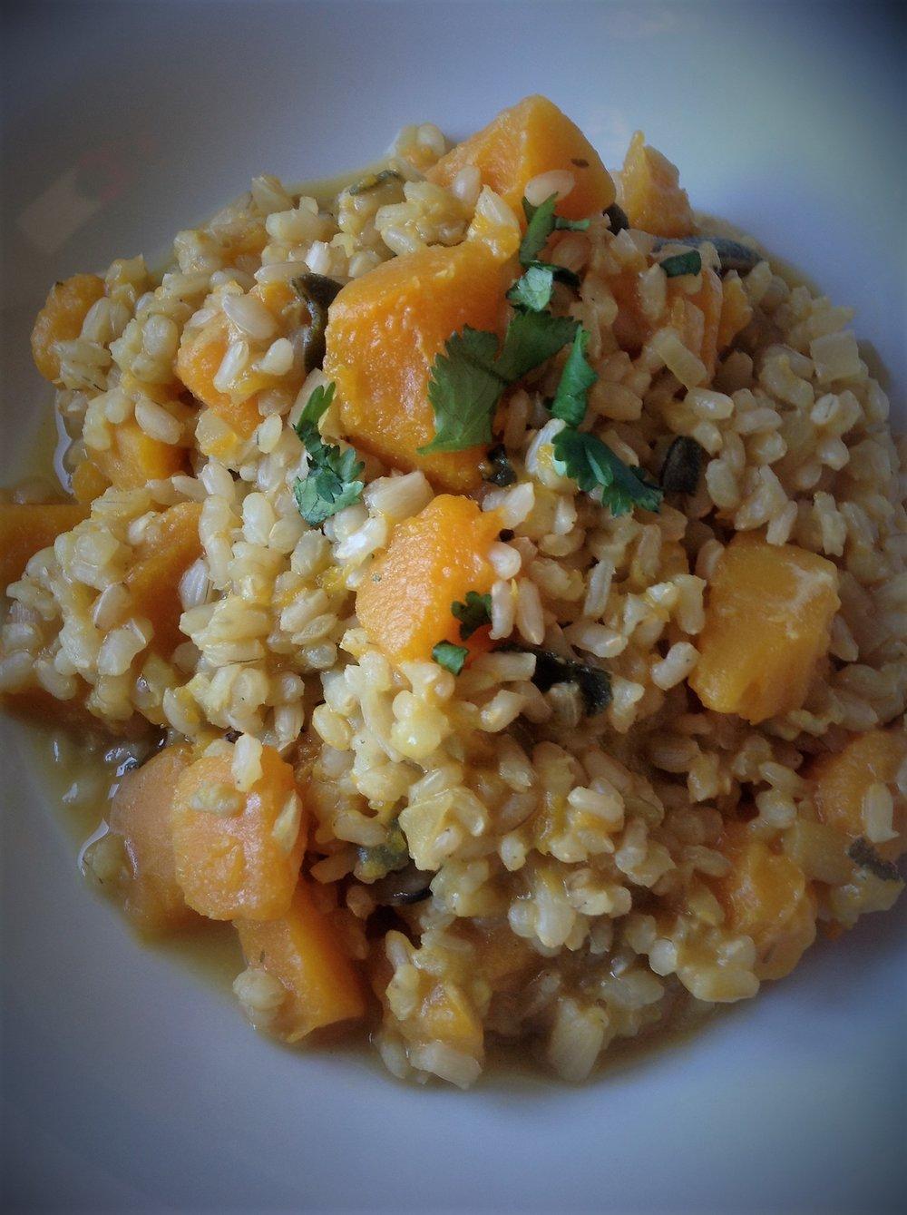 Butternut Squash Brown Rice Risotto - Vegan, Gluten-free, Healthy Italian classic