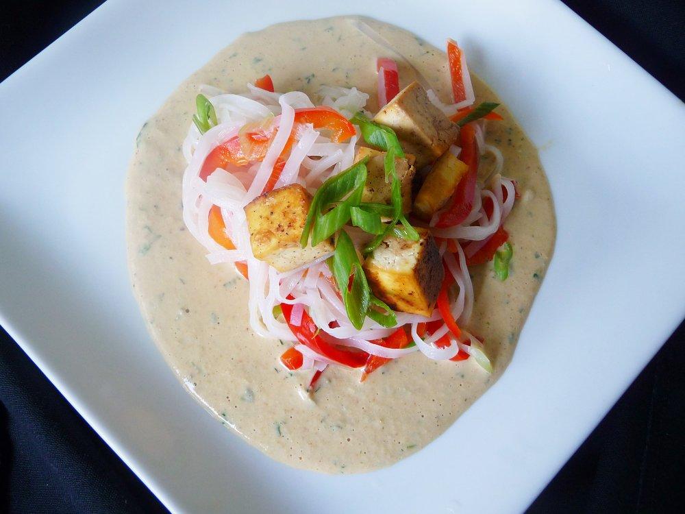 Ginger Orange Stir-fry with Brown Rice Noodles - Healthy Vegetarian Thai Dinner Entree