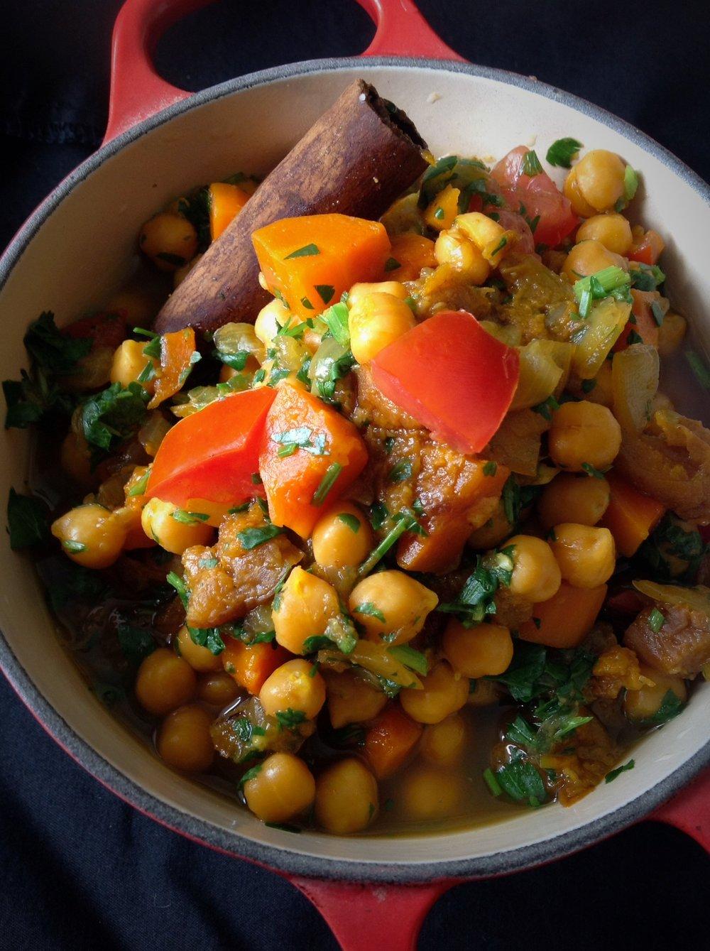 Moroccan Chickpea Tagine Stew - Healthy, Gluten-Free, Vegan Dinner Entree