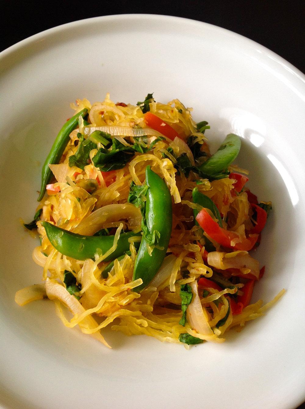 Thai Spicy Basil Spaghetti Squash - Healthy, Gluten-Free, Low-Carb Vegan Entree; Can add beef, chicken, tofu, or shrimp