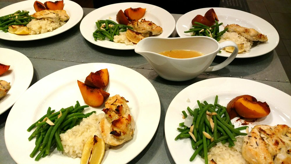 Lemony Rosemary Broiled Chicken Breast - Healthy, Low-Fat Entree, here served with Haricot Verts and Grilled Peaches