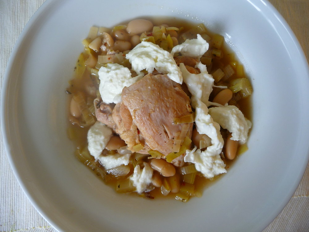 French Braised Chicken and Leeks - Healthy Dinner Entree, served here with white beans and Buffalo Mozzarella