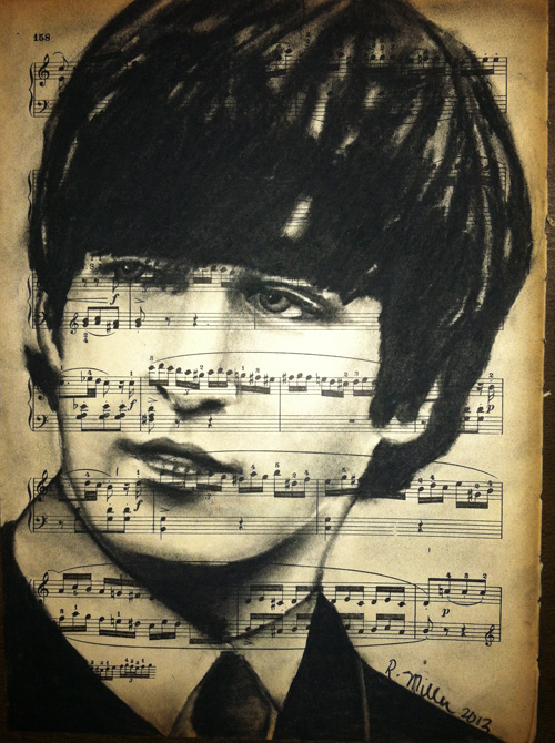 "John Lennon, 2013   Charcoal on antique sheet music, 9"" x 12"""