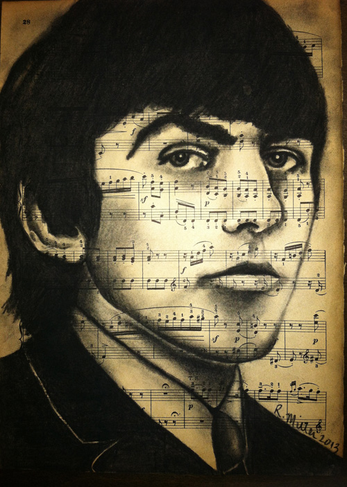 "George Harrison, 2013 Charcoal on antique sheet music, 9"" x 12"""
