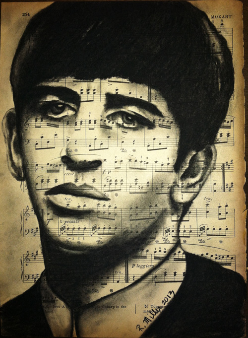 "Ringo Starr, 2013   Charcoal on antique sheet music, 9"" x 12"""