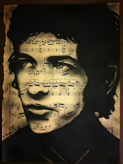 "Bob Dylan, 2012 Charcoal on antique sheet music, 9"" x 12"""