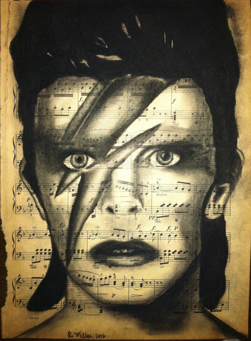 "David Bowie, 2012 Charcoal on antique sheet music, 9"" x 12"""