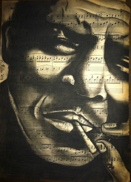 "Howlin Wolfe, 2013   Charcoal on antique sheet music, 9"" x 12"""