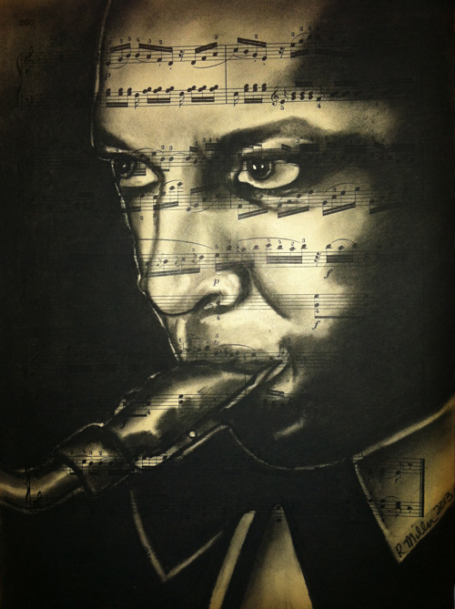 "John Coltrane, 2013   Charcoal on antique sheet music, 9"" x 12"""