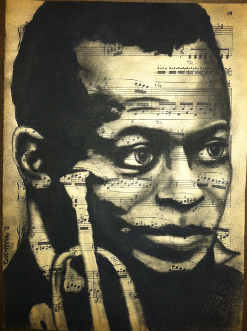"Miles Davis, 2012 Charcoal on antique sheet music, 9"" x 12"""
