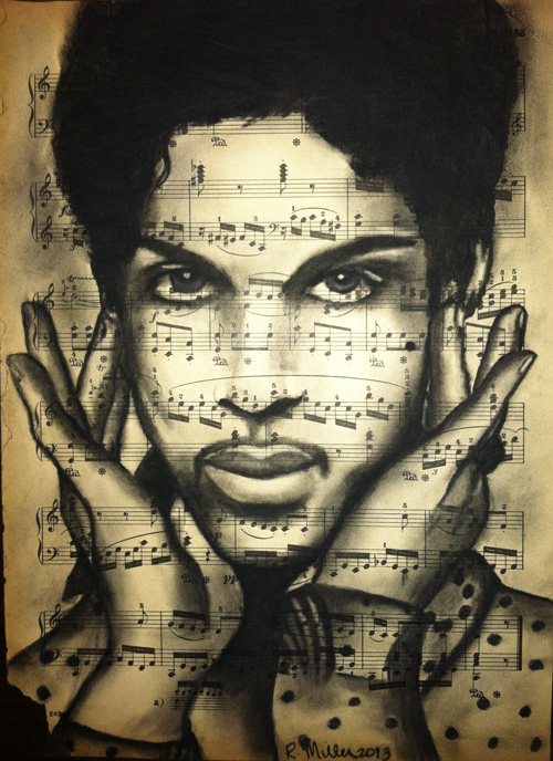 "Prince, 2013 Charcoal on antique sheet music, 9"" x 12"""