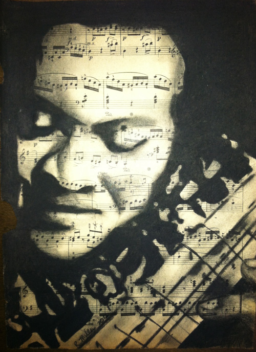 "Ravi Shankar, 2012   Charcoal on antique sheet music, 9"" x 12"""