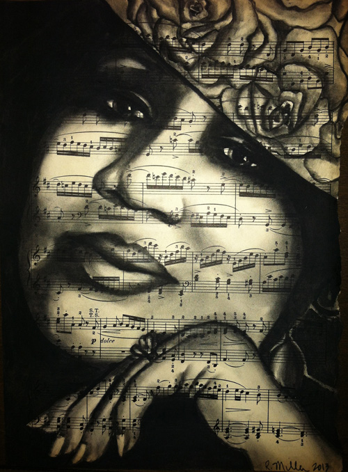 "Aretha Franklin Charcoal on antique sheet music, 9"" x 12"""