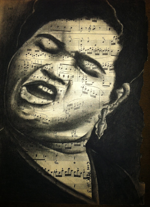 "Big Momma Thornton Charcoal on antique sheet music, 9"" x 12"""