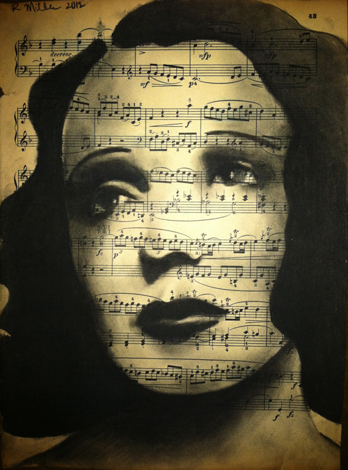 "Edith Piaf Charcoal on antique sheet music, 9"" x 12"""