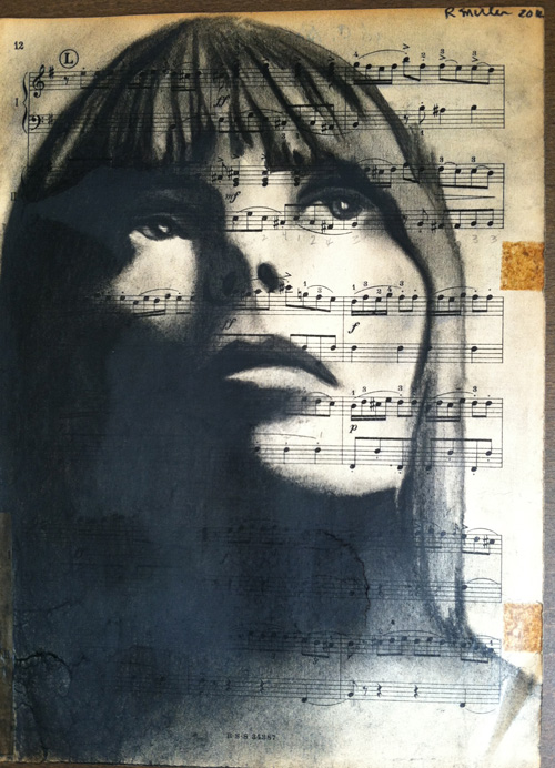 "Joni Mitchell Charcoal on antique sheet music, 9"" x 12"""
