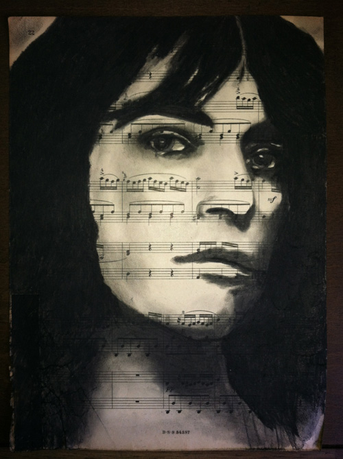 "Patti Smith Charcoal on antique sheet music, 9"" x 12"""