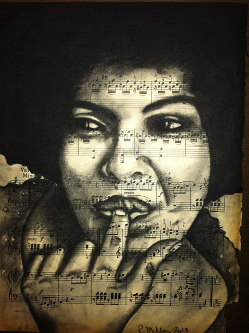 "Roberta Flack  Charcoal on antique sheet music, 9"" x 12"""