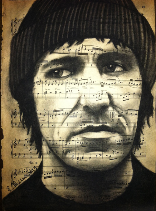 "Elliot Smith, 2013   Charcoal on antique sheet music, 9"" x 12"""