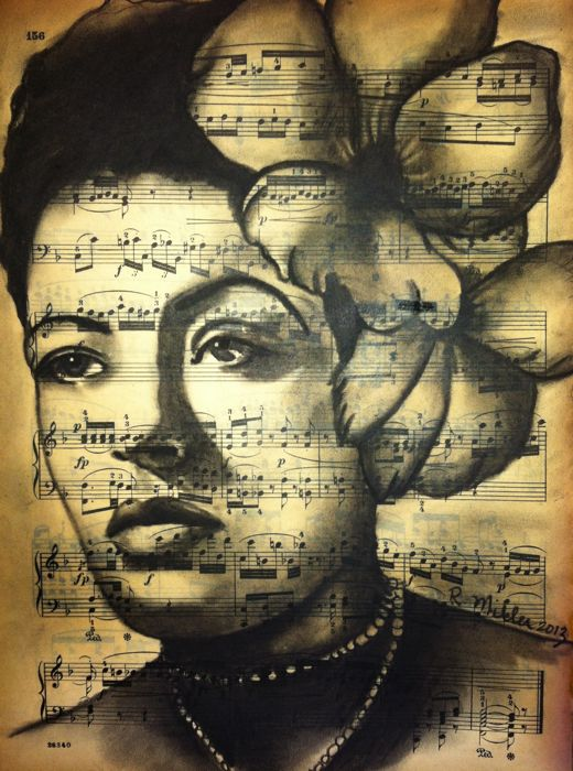 "Billie Holiday Charcoal on antique sheet music, 9""x 12"""