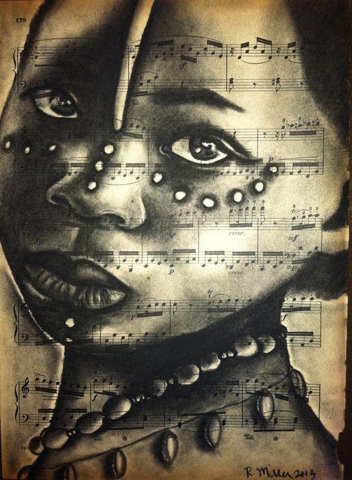 """Zulu African Girl  Charcoal on antique sheet music, 9"""" x 12"""""""