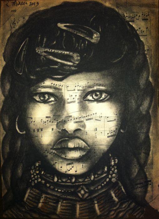 "Ethiopian Girl, 2013  Charcoal on antique sheet music, 9"" x 12"""