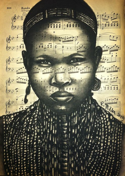 """Ethiopian Arbore Beaded Woman, 2013  Charcoal on Antique Sheet Music, 9"""" x 12"""""""